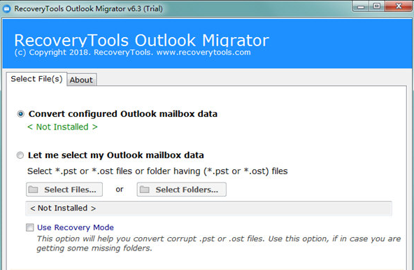 RecoveryTools Outlook Migrator